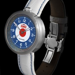 IWI Watches MOD on White Aligator Strap with Blue contrast stitching