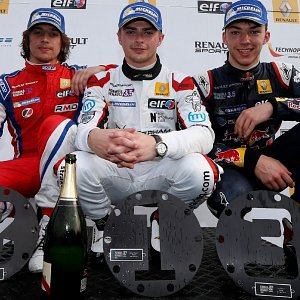IWI Watches Ambassador Will Stevens 1st with Robert Merhi 2nd on the podium Monza Renault World Series 2014
